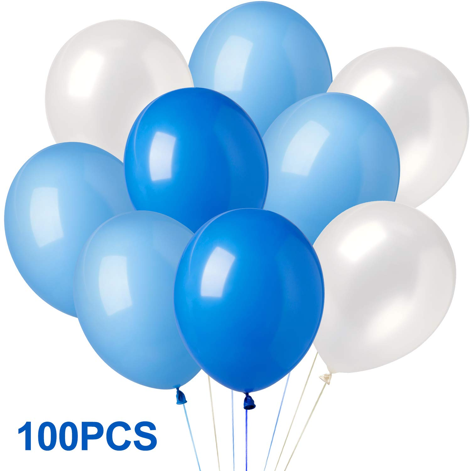 Elegear Birthday Balloons 100 Pcs, 12 Inches Assorted Bright Color Latex  Balloons for Wedding, Anniversary, Graduation and Party (Blue, White, Azure)