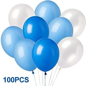 Elegear Globo Latex Globos de cumpleaños 100 Globos Azules y Globos Blancos Decoración para Cumpleaños Boda Fiesta Escaparate de Tienda, etc. (100 ...