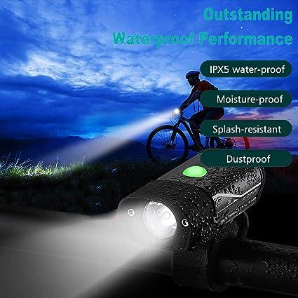Sannysis LED Luz Bicicleta Luces 350lm Faro Bicicleta Delantera y ...