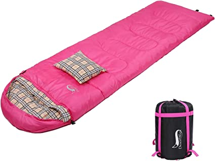 DESERT /& FOX Cotton Flannel Sleeping Bags with Pillow Travelling Hiking 4 Season Warm /& Cold Weather Envelope Sleeping Bag Lightweight /& Portable Compression Sack for Outdoor Camping