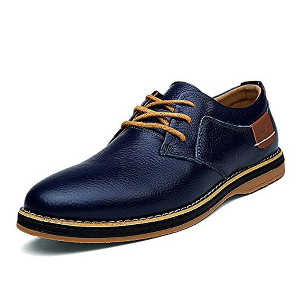 YZHYXS Men's Dress Shoes Black Brown Genuine Cow Leather Oxfords Business Casual Shoes (1611-navyblue-45)