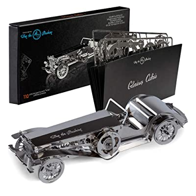 Model Car Kit 3d model kit Glorious Cabrio2 - Moving Wind-Up Retro Car Model | 3d Puzzle for Adults - Metal DIY Kit | Beautiful Metal Model Car Collectible | DIY Construction Set of a Vintage Car: Toys & Games