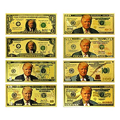 President Trump Gold Bill Package Banknote, Gold Coated Limited Edition Million Dollar Bill Great Gift for Currency Collectors and Republican (Gold): Toys & Games