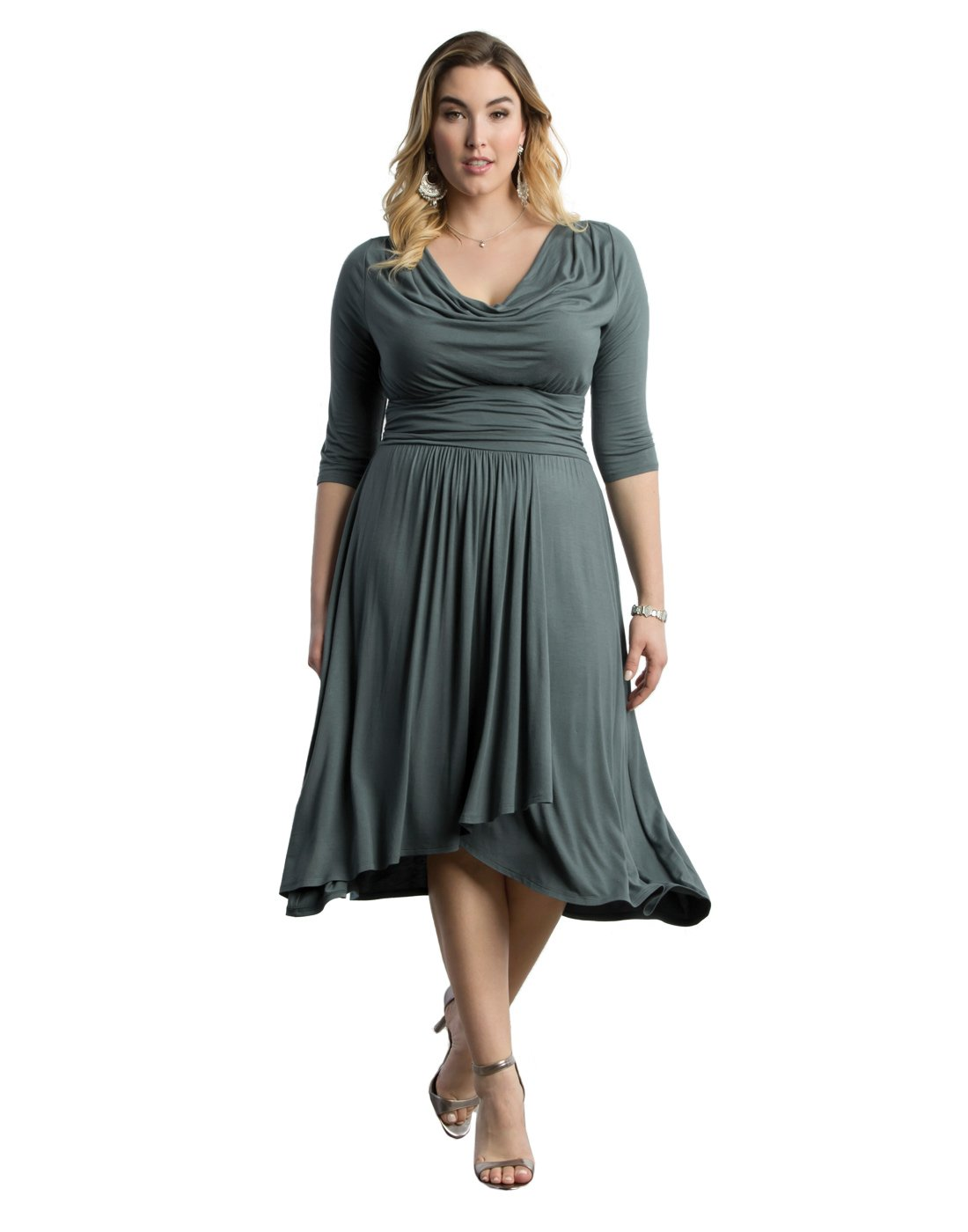 Kiyonna Women's Plus Size Draped In Class 3X Sea Glass Teal by Kiyonna Clothing