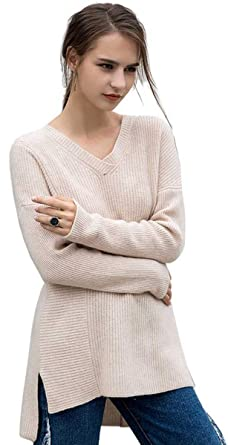 31f852046 RanRui Women's 100% Pure Cashmere Sweater Long Sleeve V Neck Tunic ...