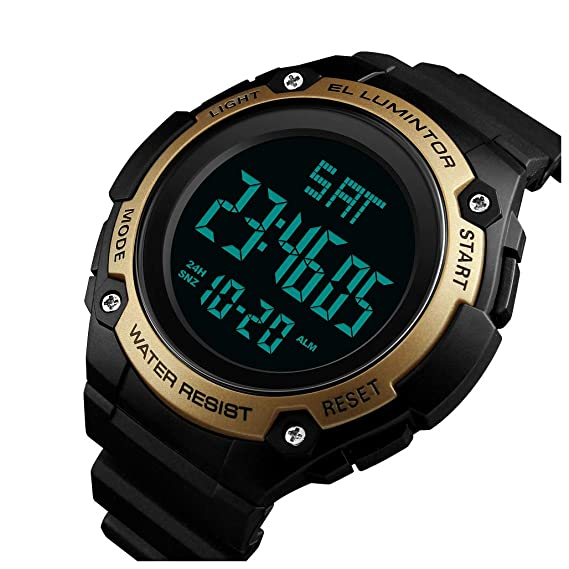 Swim 50m Waterproof Watch Outdoor Sports Men Watches Quartz Electronic Dual Display Military Style Multifunction Male Luminous A Attractive Fashion Watches