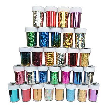 Frcolor 24 Cajas de lentejuelas de uñas DIY Glitter Nail Art Decoration Colorful Sequins Nail Art