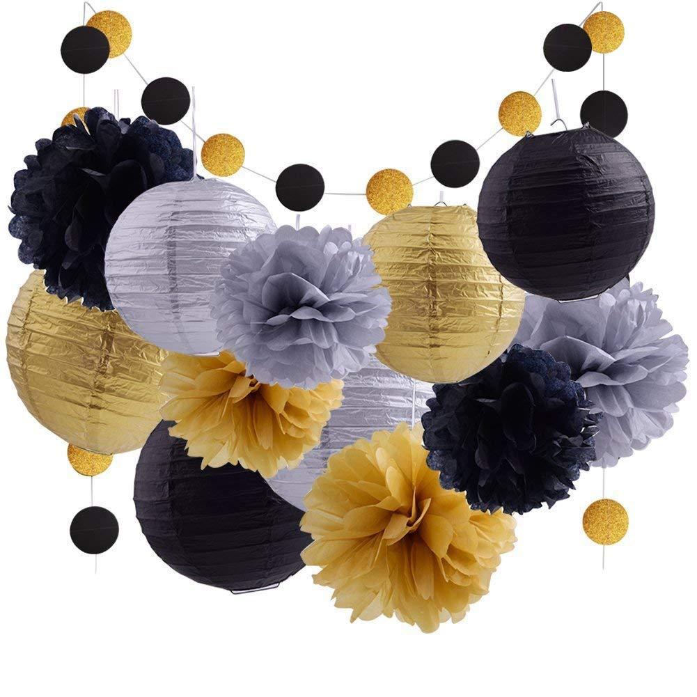 Black Gold Tissue Pom Poms Paper Lantern Garland,Birthday Decoration, Wedding Themed Party Supplies