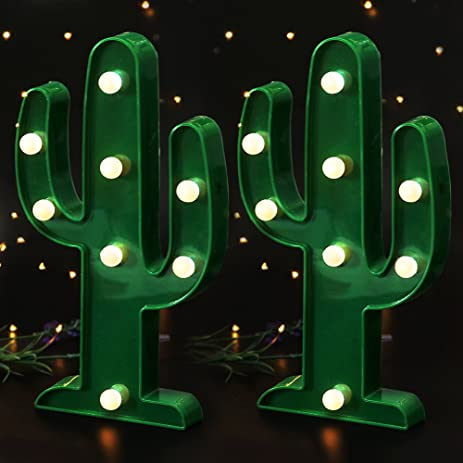bright zeal set of 2 10 green cactus led marquee signs with lights