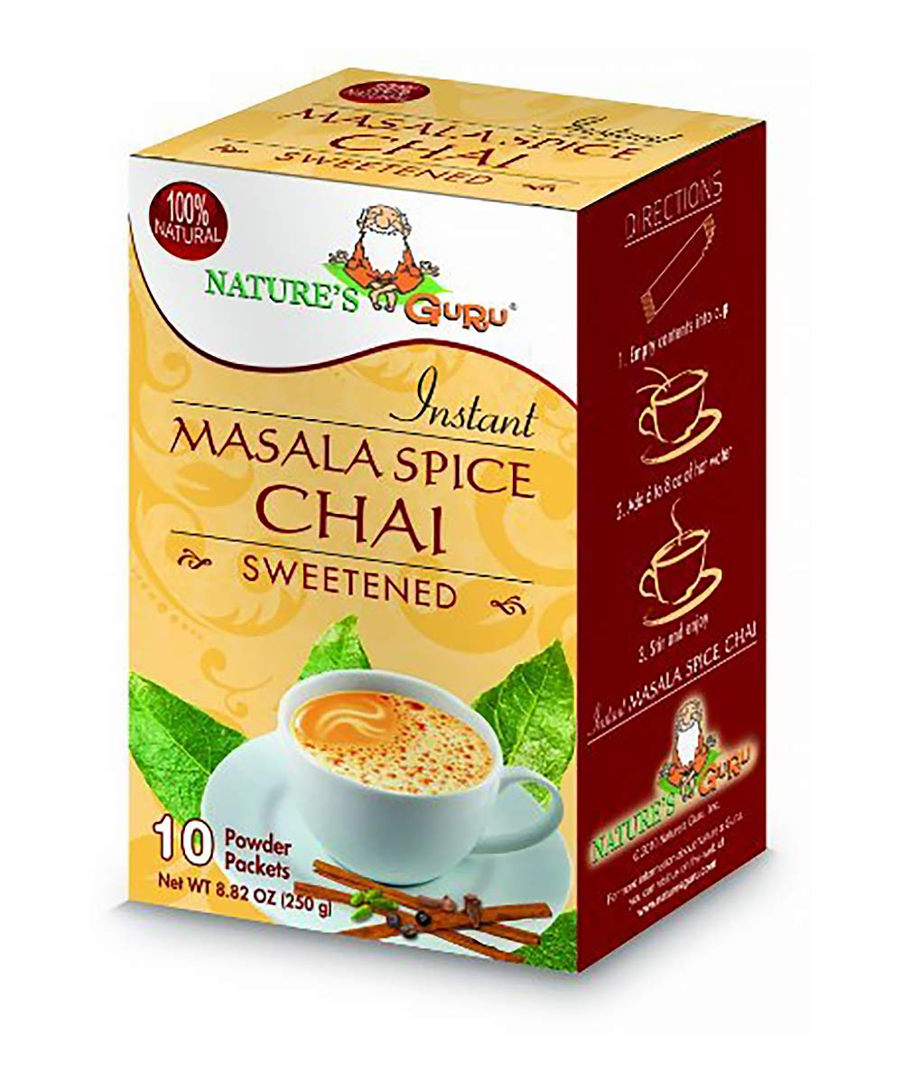 Nature's Guru Instant Masala Chai Tea Drink Mix Sweetened 1.1 Pound Pouch (Pack of 8)