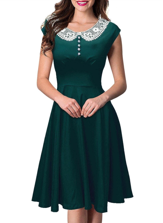 Babyonline® Damen Ärmellos Rockabilly Vintage Rock Petticoat Faltenrock Abendkleider