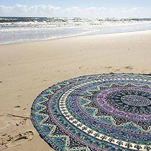efperfect Indian Elephant Mandala Round Roundie Beach Throw Tapestry Hippy Boho Gypsy Cotton Tablecloth Beach Towel