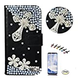 STENES LG G7 ThinQ Case - Stylish - 3D Handmade Crystal Cross Flowers Design Wallet Credit Card Slots Fold Media Stand Leather Cover with Screen Protector for LG G7 ThinQ - Silver