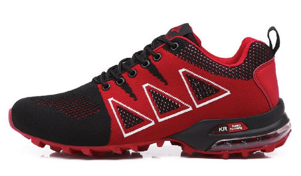 JiYe Running Shoes Men Breathable Lightweight Fashion Flyknit Hiking Sneakers,Red,41EU=8US-Men