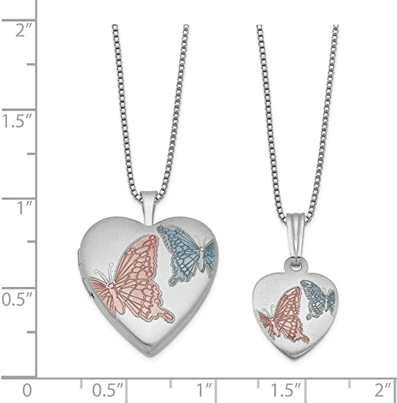 Just Like Mommy Sterling Silver Satin Finish Enamel Butterflies Design Heart Locket Pendant Necklace Set