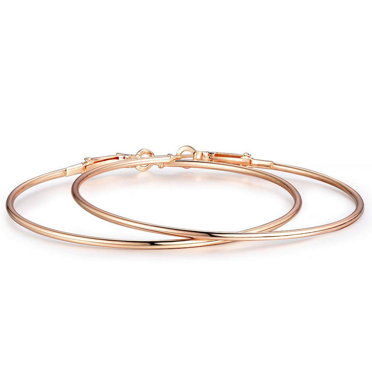 Hoop Earrings Gold Plated Rose Gold Plated Silver 50mm J.F/ée 3 Pairs of 1.96