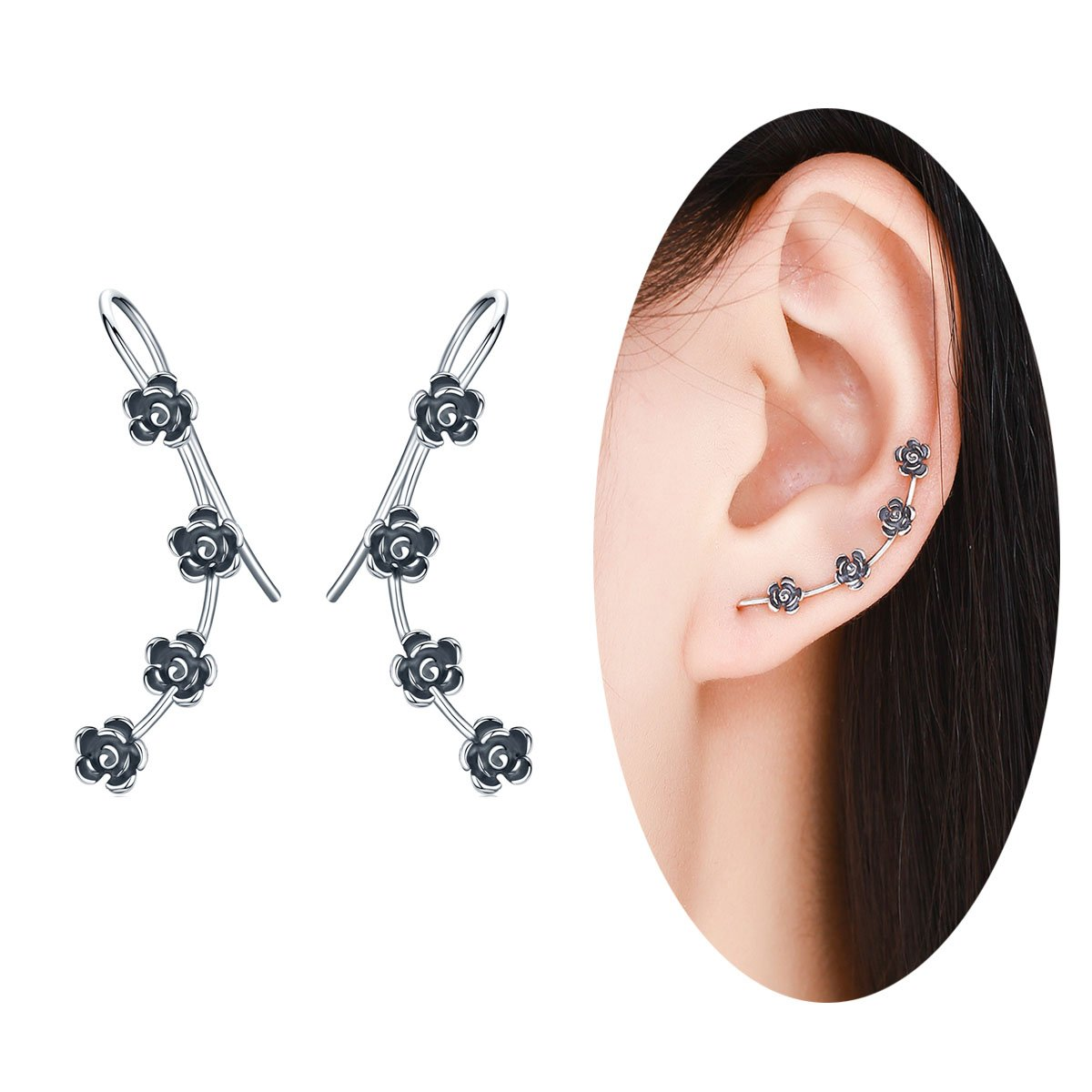 BAMOER New Arrival 925 Sterling Silver Antique Black Daisy Flowers Crawler Earrings for Women Teen Girls Thanksgiving Christmas Day Gifts (Black Flowers)