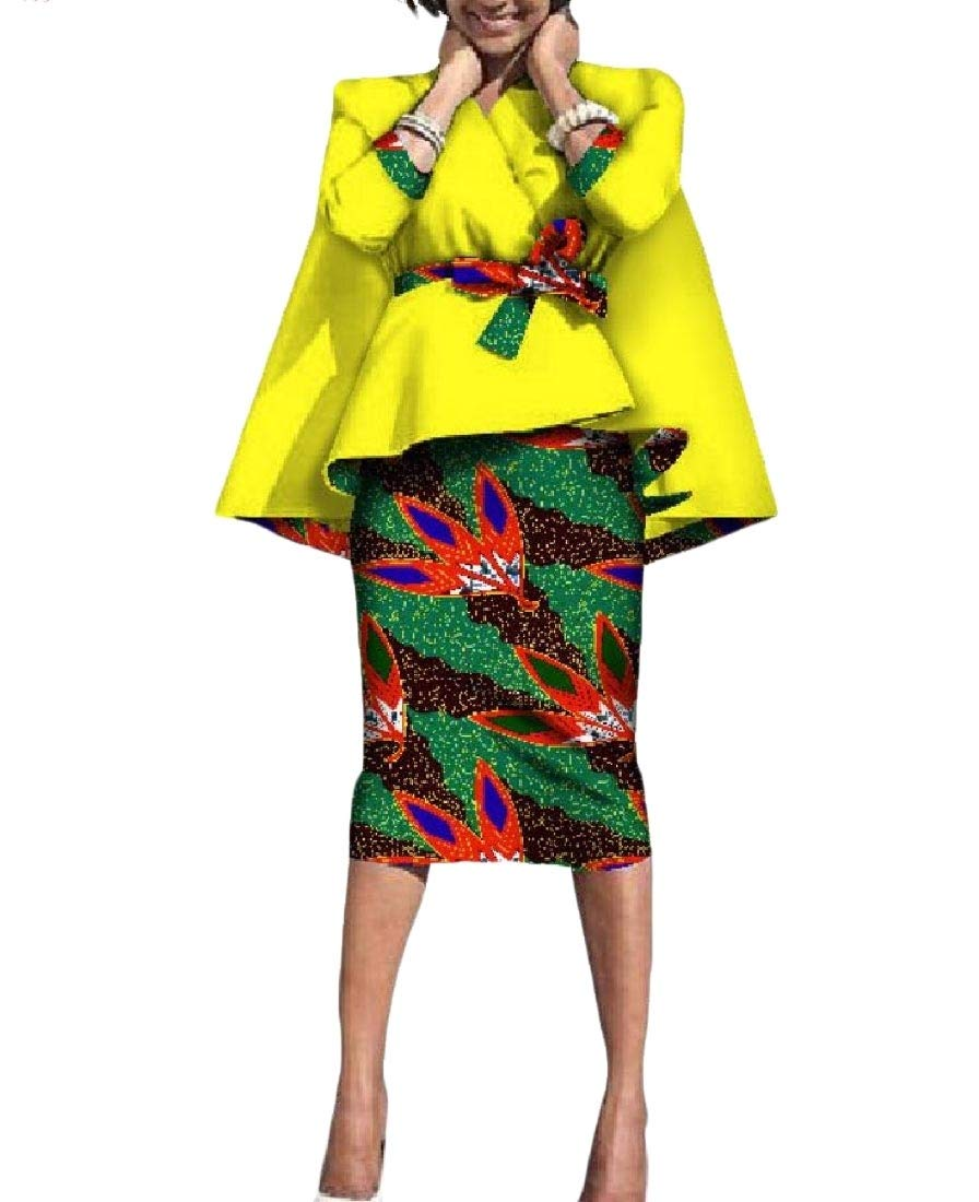 Mfasica Women's Batik Africa Accept-Waist Two Piece Dashiki Bodycon Skirt 3 5XL