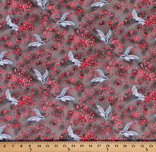 Cotton Michiko Oriental Floral Cranes Cotton Fabric Print by the Yard 7450-092 (Oriental Crane)