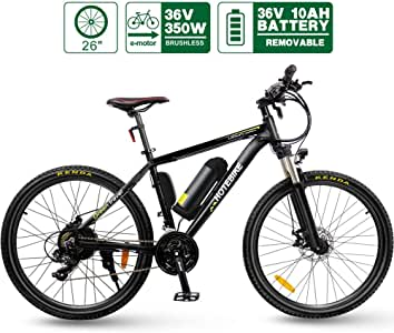 HOTEBIKE 26 Inch Electric Bicycle 350W Brushless Motor 36V 10AH Lithium Battery, Aluminum Alloy Frame 21 Speed MTB E-Bike