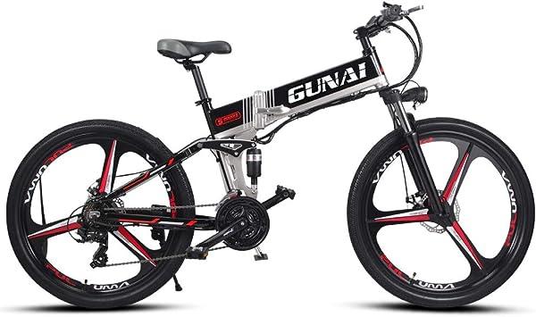 GUNAI Bicicleta de montaña eléctrica de 350W Motor de 48V Ruedas ...