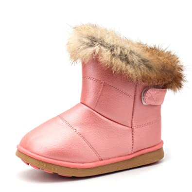 f7c0297c7b8 ALEDER Baby Girl s Winter Snow Boots Waterproof Slip On Children Shoes Pink  4.5 UK