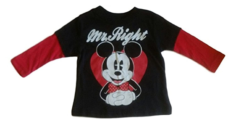 Disney Mickey Mouse Boys' Tee Shirt (4T, Long Sleeve Red/black)