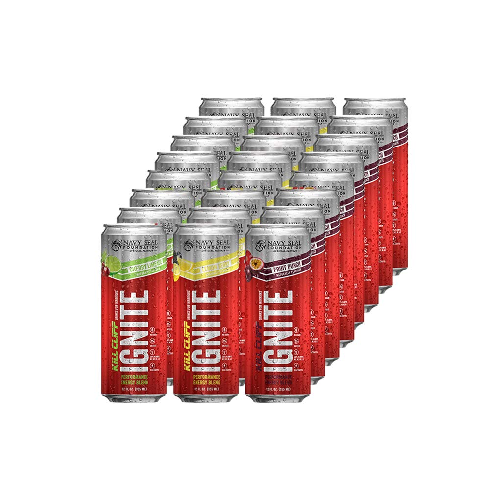 Kill Cliff Ignite | Healthy Energy Drink, Natural Caffeine, Electrolytes, B-Vitamins, KETO Friendly without the Junk | 12 Fluid Ounce (24 Pack, 8 of Each: Cherry Limeade, Fruit Punch, Lemon Berry)
