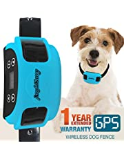 AngelaKerry Wireless Dog Fence System with GPS, Outdoor Pet Containment System Rechargeable Waterproof Collar 850YD Remote for 15lbs-120lbs Dogs (Blue, 1pc GPS Receiver by 1 Dog)