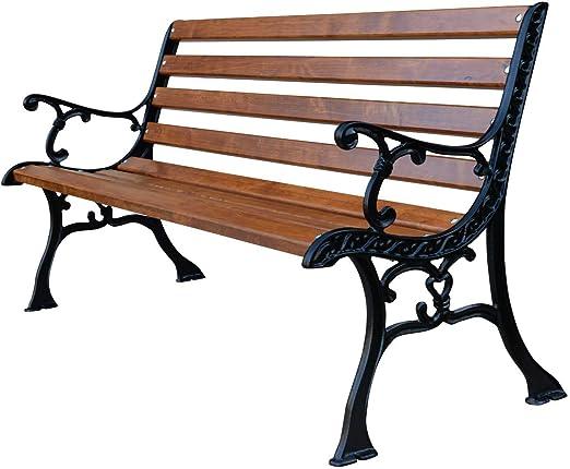 Sellon 0111 - Banco de jardín (hierro fundido, madera de palisandro): Amazon.es: Hogar