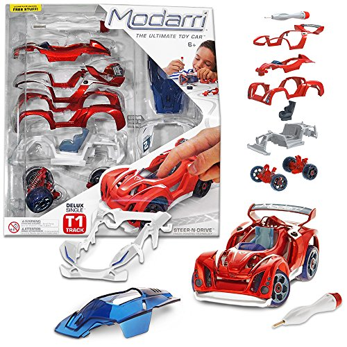 Modarri Delux T1 Track Car Build Your Car Kit Toy Set - Ultimate Toy Car: Make Your Own Car Toy Thousands Designs - Real Steering Suspension - Educational Take Apart Toy Vehicle