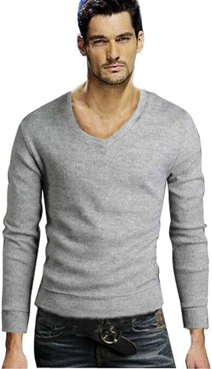 Gaorui Jersey de Punto para Hombre Cuello en Pico Suéter de Manga Larga Comercio Negocio 0918