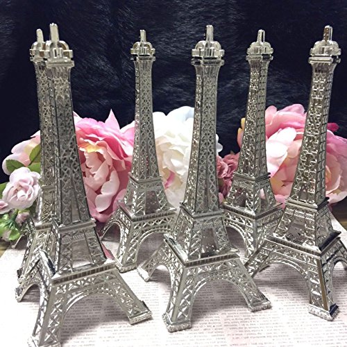 Eiffel Tower Party Favors (7 Inch (18cm) Silver Metal Eiffel Tower Statue Figurine Replica Centerpiece Pack of 6)