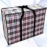 WallyE Waterproof Jumbo Cloth Storage Bags,WovenTravelling Bag, Black Gingham