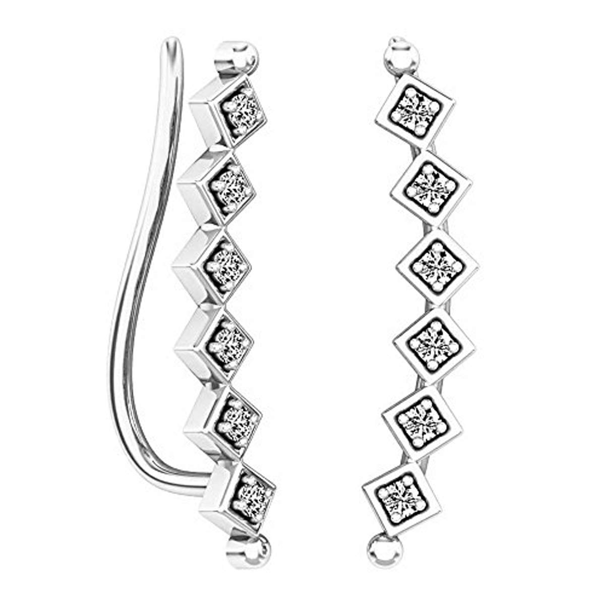 Dazzlingrock Collection 0.15 Carat (ctw) 10K Round Cut White Diamond Ladies Sweep Up Square Ear Climber Earrings, White Gold by Dazzlingrock Collection