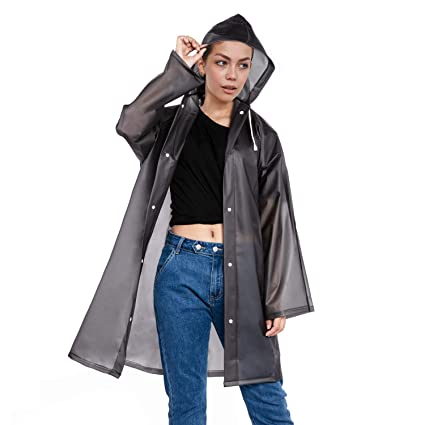 4b6375d899b Amazon.com: MEOKEY Rain Poncho Clear Women Raincoat with Hood Lightweight  Long Rainwear Waterproof Reusable Travel Fishing Hiking: Clothing