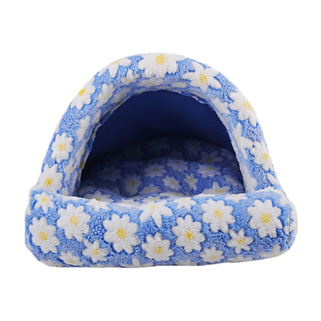 bluee L bluee L Pet Bed Plush Kennel Soft And Comfortable Breathable Waterproof Non-slip Durable Multi-color Optional A0 Dog Bed (color   bluee, Size   L)