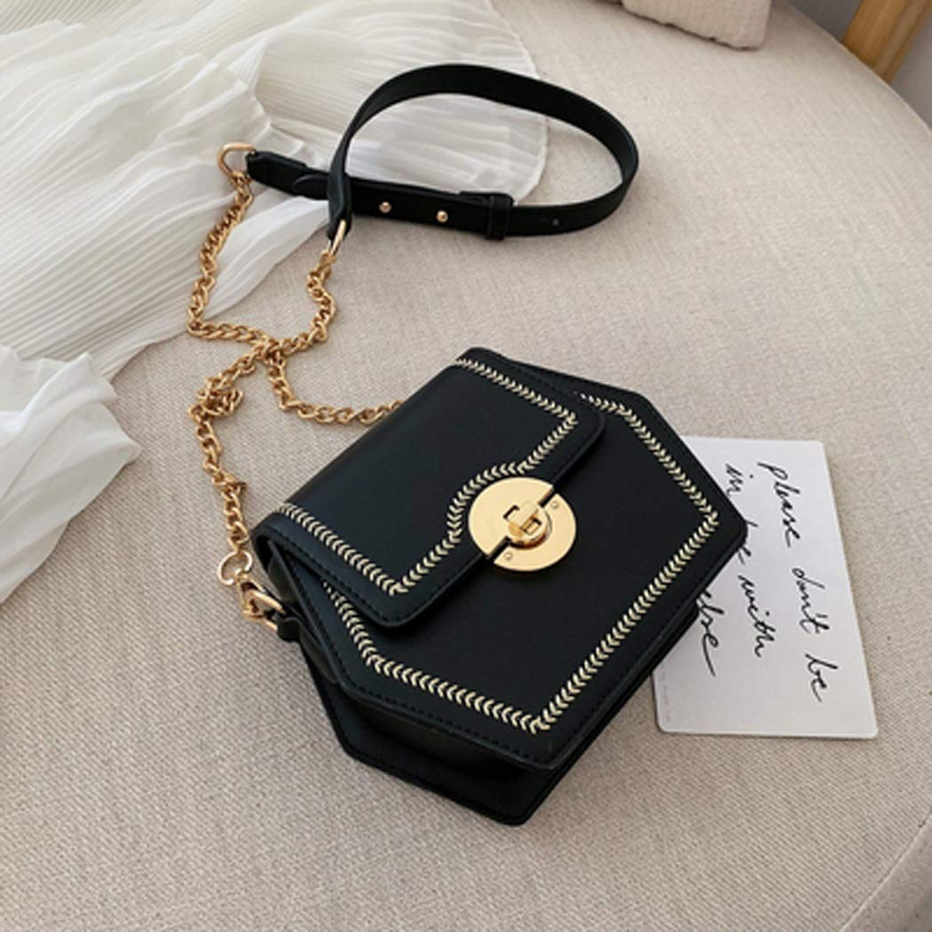 Color : Black, Size : 18158cm OUSHINA New 2019 Summer Small Fresh Messenger Bag Wild Ins Fashion Gas Chain Bag