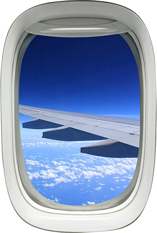 Amazon Com Airplane Window Decal Wing Sky Clouds Mural Peel And