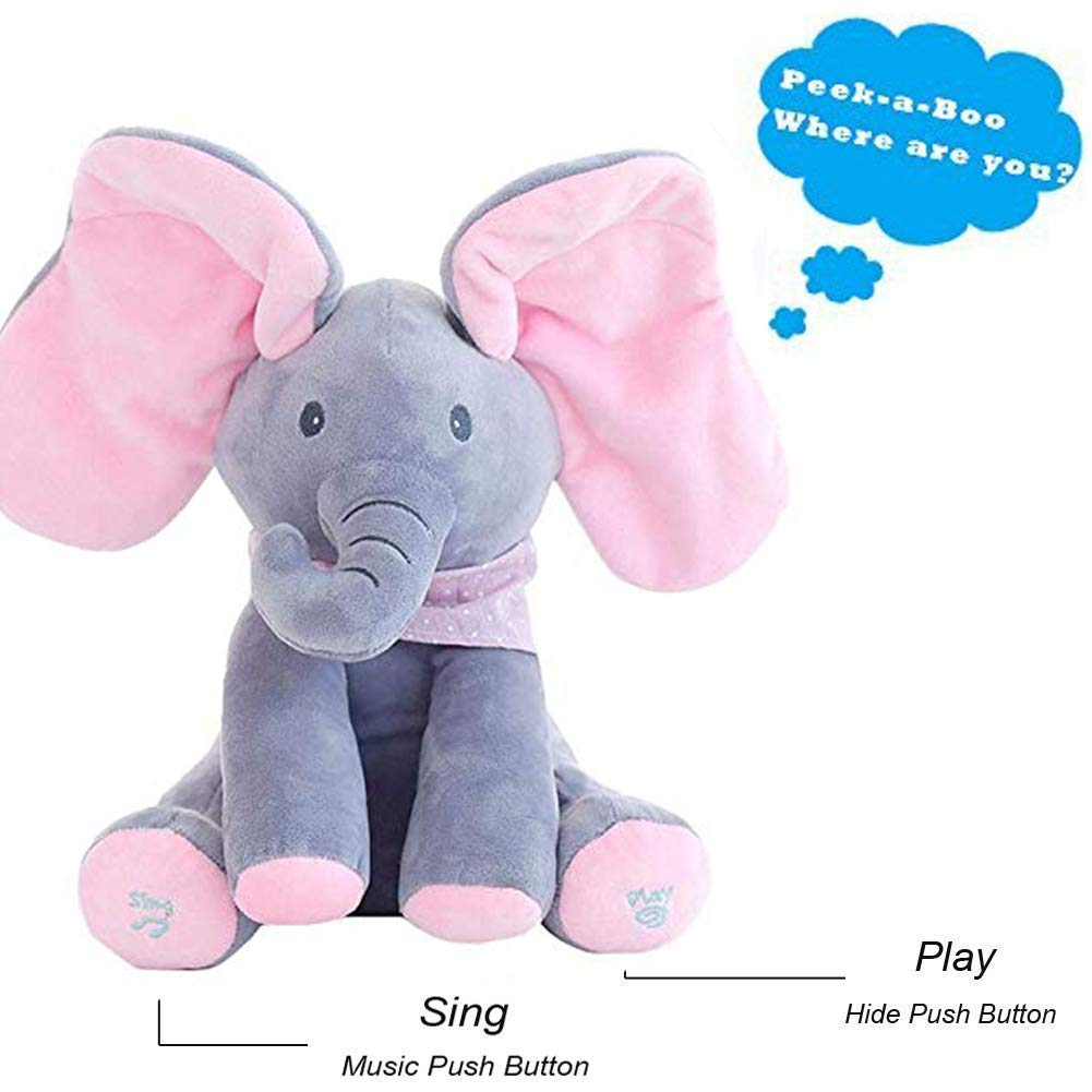 Gund Baby Animated Flappy Plush Elephant Doll Toy Play Music Hide And Seek Kids