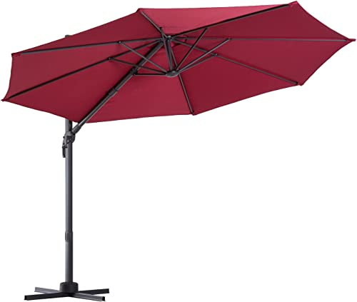 Outsunny 10 Offset Rotating Outdoor Patio Garden Umbrella with Tilt and Crank