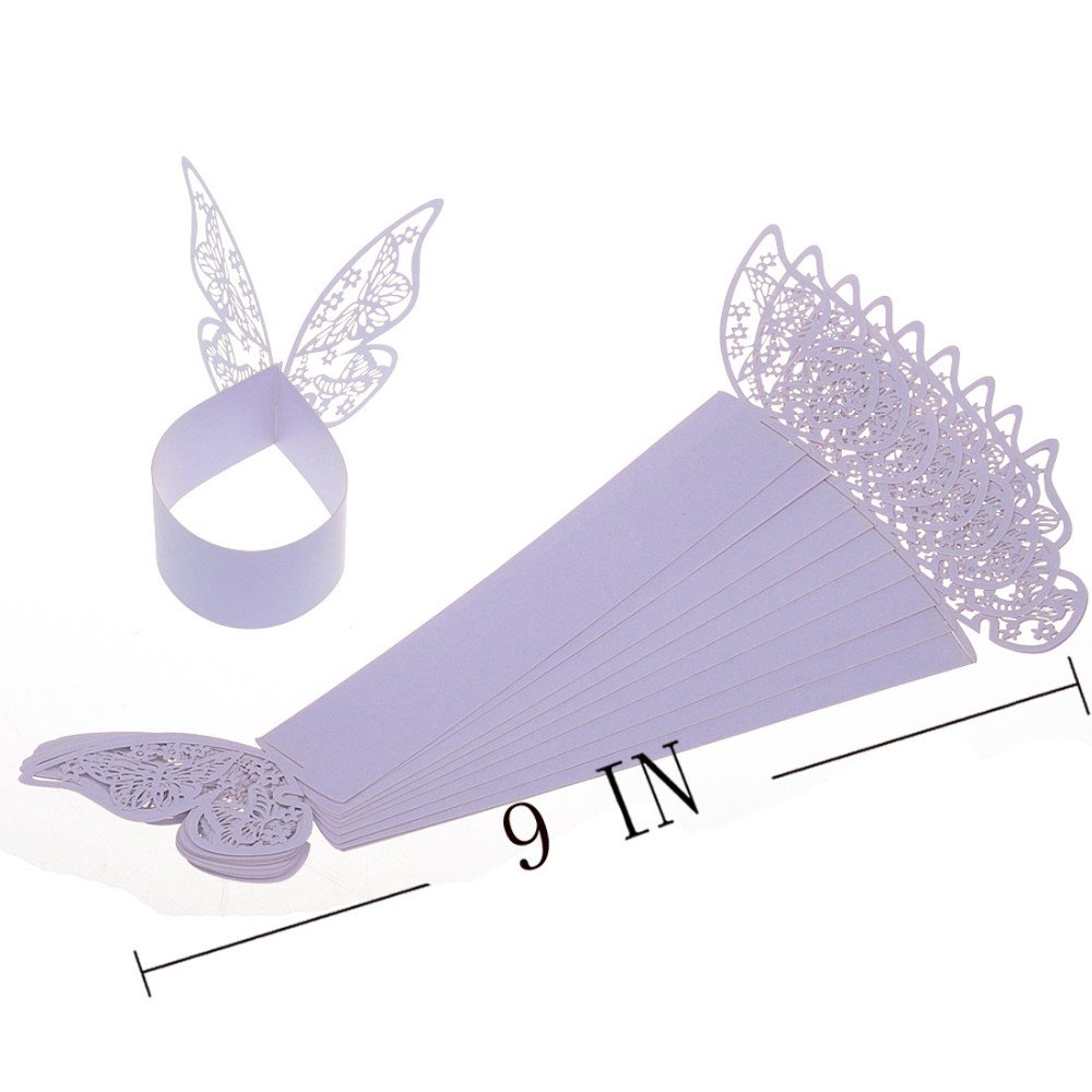 King/&Pig 50pcs Laser Cut Butterfly Shape Napkin Rings for Dinners Lunch Tables Home Wedding Birthday Date Anniversray Party Decorations white