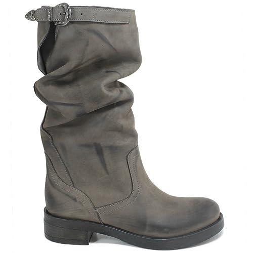 In Time Stivali Biker Boots metà Polpaccio Donna 0283 Grigio Arricciati in Vera Pelle Nabuk Made in Italy