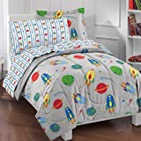 CA 5 Piece Kids Grey Space Themed Comforter Twin Set, Red Green Flying Rocketships Bedding Planets Earth Space Crafts Comets Saturn Stars Astronaut Fan Solar System Universe Galaxy Blue, Polyester