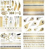 Premium Metallic Tattoos - 75+ Shimmer Designs in Gold, Silver, Black & Turquoise - Temporary Fake Jewelry Tattoos - Bracelets, Feathers, Wrist & Arm Bands, & More By Terra Tattoos™ (Delila Collection)