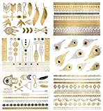 Premium Metallic Tattoos - 75+ Shimmer Designs in Gold, Silver, Black and Turquoise - Temporary Fake Jewelry Tattoos - Bracelets, Feathers, Wrist and Arm Bands (Delila Collection)