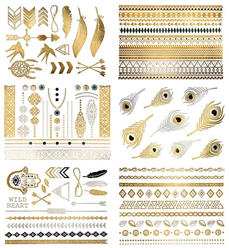 Premium Metallic Tattoos - 75+ Boho & Contemporary Shimmer Designs in Gold, Silver, Black and Turquoise - Temporary Fake Jewelry Tattoos - Bracelets, Feathers, Wrist and Arm Bands (Delila (Tribal Print Tattoos)