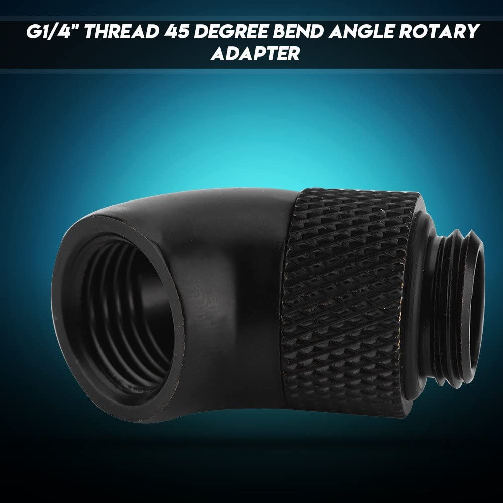 G1//4 Thread 45 Degree Bend Angle CPU Water Cooling Heatsink Rotary Fitting Adapter Replacement Zopsc Black Nickel Plated Brass Fitting