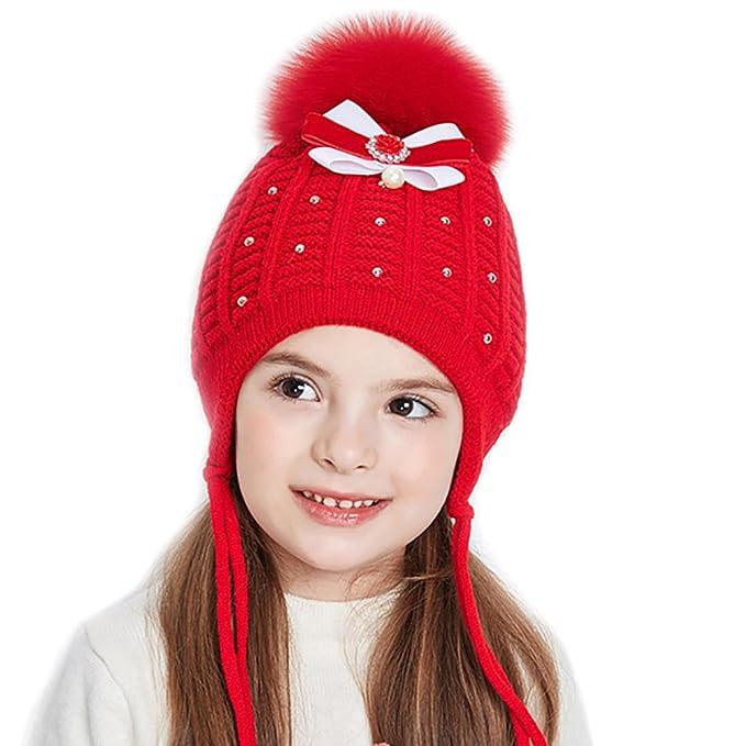 8183d808bd5d URSFUR Bonnet Cap Tricot Pompon Fourrure Bébé Fille Chapeau Bonnet Beanies Cache  Oreille Nœud Coton Enfant Hiver blanc  Amazon.fr  Vêtements et accessoires