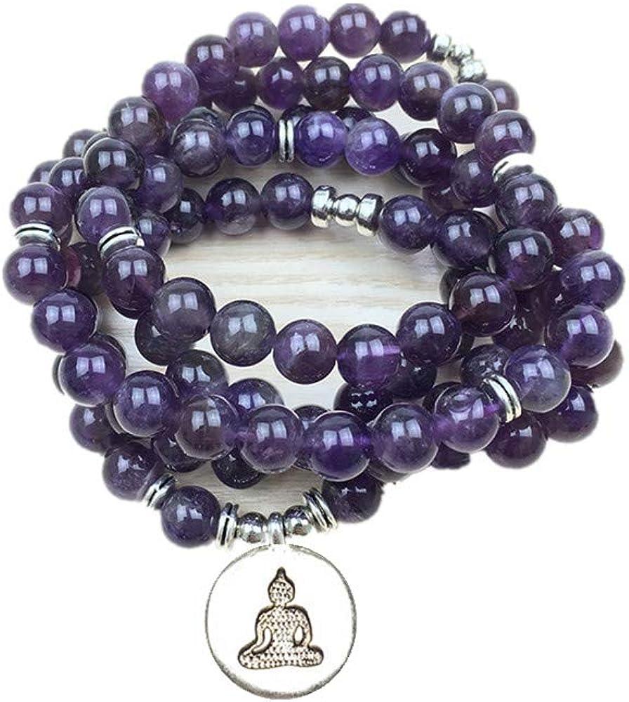 TYGJB Lujoso diseño de Piedra Natural de Color púrpura 108 Mala Lotus Pulsera o Collar de Reiki Charged Budista Rosario de Pulsera